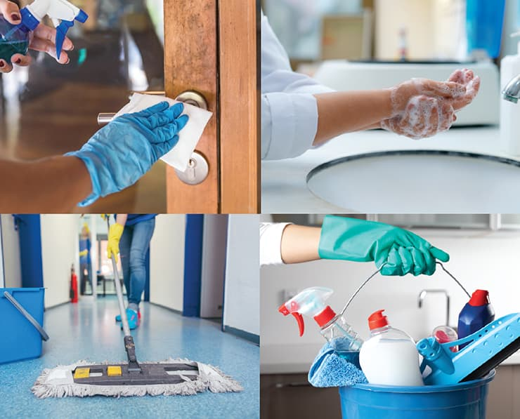 Collage of cleaning procdures